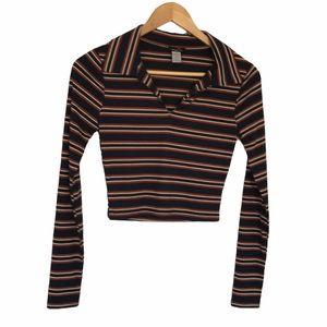 Rue21 Preppy Collar striped Long Sleeve Crop